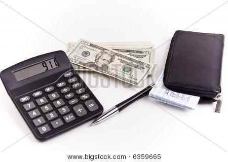 home finances money check book calculator with pen