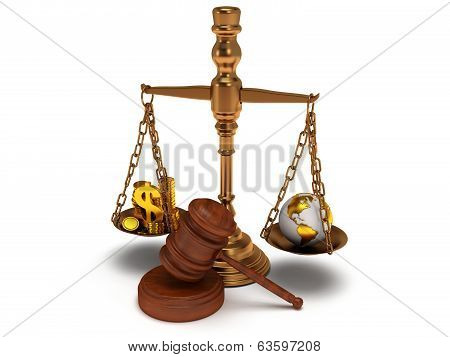 Scales justice with wooden gavel coins dollar sign and earth globe