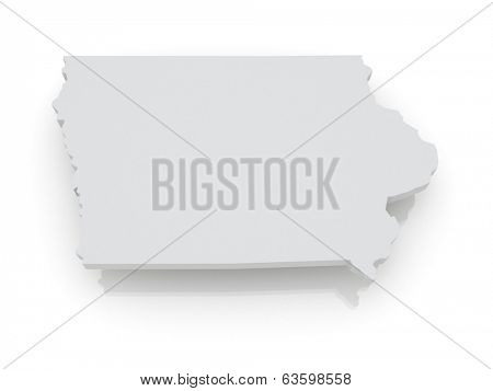 Three-dimensional map of Iowa. USA. 3d