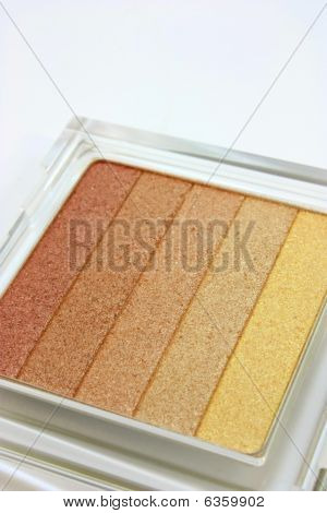 Eye shadow makeup, 5 tones on white background