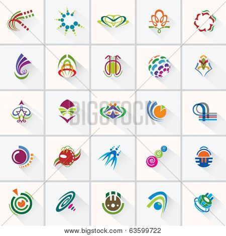 ABSTRACT COLORFUL DESIGN ELEMENTS . Collection with icons for abstract logo.