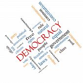 picture of bill-of-rights  - Democracy Word Cloud Concept angled with great terms such as people rights vote and more - JPG