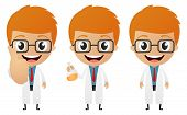 image of mad scientist  - Illustration of young scientist cartoon on white - JPG