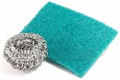 Scrub Sponge And Silver Potsponge For Cleaning