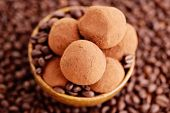 homemade pralines with coffee - sweet food