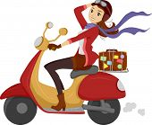 stock photo of pre-adolescent girl  - Illustration of a Girl Happily Driving a Scooter - JPG