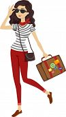 image of carry-on luggage  - Illustration of a Woman in Stripes Carrying Vintage Luggage - JPG