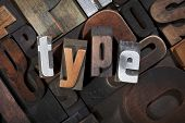 type, written with antique letterpress printing blocks on random letters background