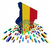 picture of chad  - Chad map flag with containers illustration - JPG
