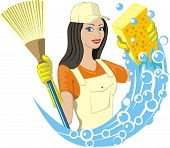 stock photo of broom  - girl keep broom and soapy sponge for cleaning - JPG