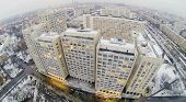 Residential district Ostankino at winter in Moscow, Russia. Aerial view