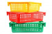 Colorful plastic basket on white background