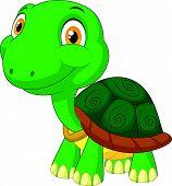 stock photo of tortoise  - Vector illustration of Cute tortoise cartoon isolated on white background - JPG