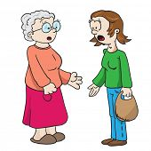 mother and grandmother talking cartoon illustration isolated on white