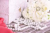 Beautiful wedding composition with bouquet close up