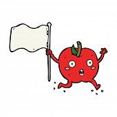 cartoon funny apple with flag