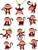 stock photo of banana tree  - Vector illustration of Happy monkey cartoon collection set - JPG