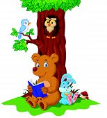 stock photo of nocturnal animal  - Vector illustration of Cute animals cartoon reading book - JPG