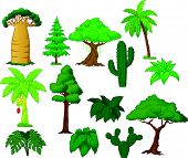 image of banana tree  - Vector illustration of Various tree cartoon collection - JPG
