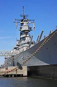 stock photo of battleship  - naval battleship moored in Norfolk harbour  - JPG