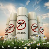 image of mosquito repellent  - mosquito repellent spray cans isolated on white background - JPG