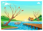 Lake with boat. Cartoon and vector illustration.