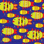 foto of pisces  - Seamless cute pisces zodiac sign illustration background pattern in vector - JPG