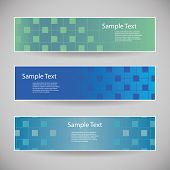 Banner or Header Design with Abstract Blue Checkered Pattern