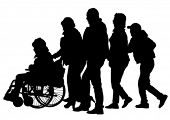 image of lame  - Silhouettes wheelchair and crowds people - JPG