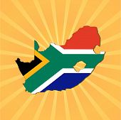 South Africa map flag on sunburst vector illustration