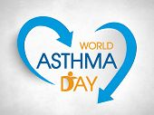 stock photo of breathing exercise  - Stylish colorful text World Asthma Day with blue arrows on grey background - JPG