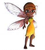 picture of faerie  - Cartoon fairy in yellow dress with pink wings - JPG