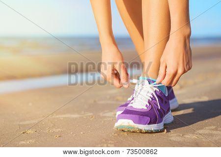 Woman wearing running shoes