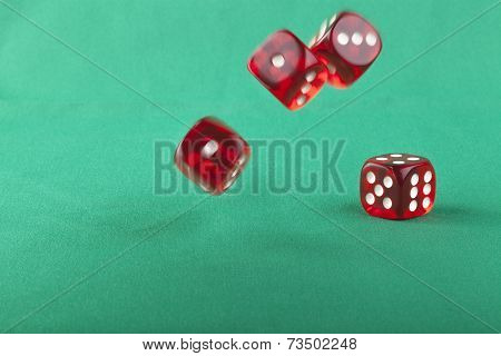 Bouncing Dice On Green