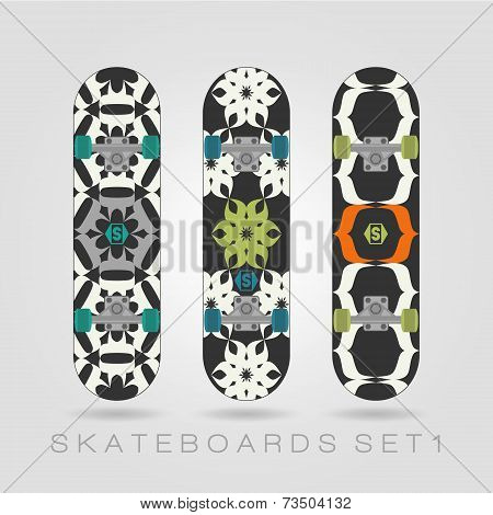 Skateboard Set. Tracery Floral