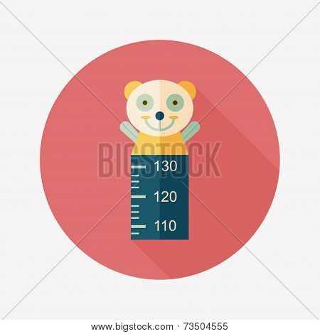 Height Scale Flat Icon With Long Shadow