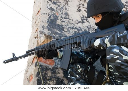 Soldier With Automatic Russian Ak47 Rifle