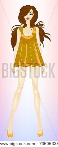 Young, beautiful, slim girl brown hair