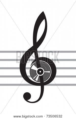 illustration of treble clef with vinyl disc