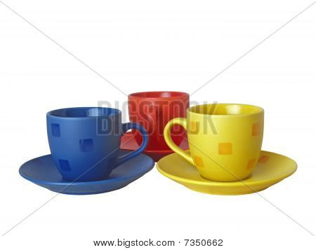 Three cups of different colours