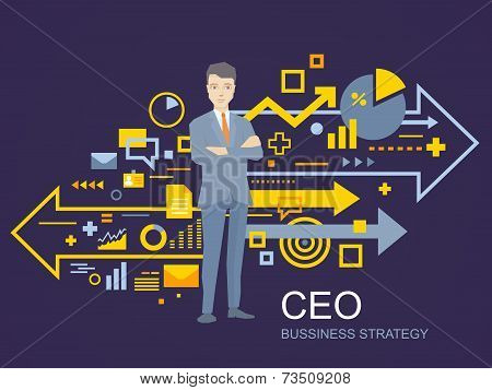 Vector Illustration Of A Portrait Of The Leader Of A Businessman Wearing A Jacket With Clasped Hands