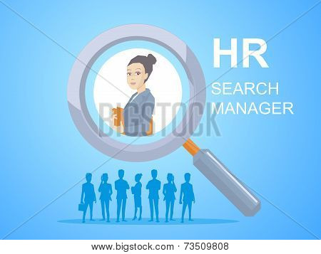Vector Illustration Portrait Of A Woman Manager Keeps A Folder With Documents In Hands Seen Through