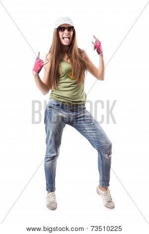 Modern Hip-hop Dance Girl Shows Corna In Fingerless Gloves