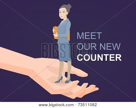 Vector Illustration Portrait Of A Woman Counter Keeps A Folder With Documents In Hands Standing On P