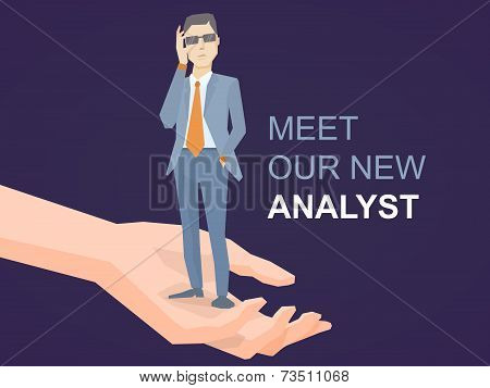 Vector Illustration Of A Portrait Of Analyst Man In A Jacket Hand Holds Glasses Standing On Palm Of