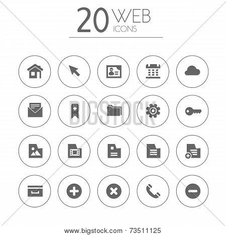 Simple thin web icons collection on white background