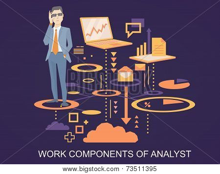 Vector Illustration Of A Portrait Of Analyst Man In A Jacket Hand Holds Glasses Stands On The Scheme