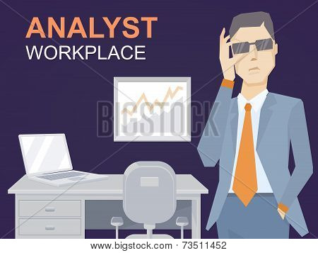 Vector illustration of a portrait of analyst man