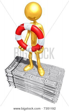 Gold Guy With Life Ring On Employment Classifieds
