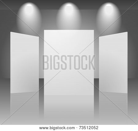Vector three dimensional blank template of exhibition gallery stand walls